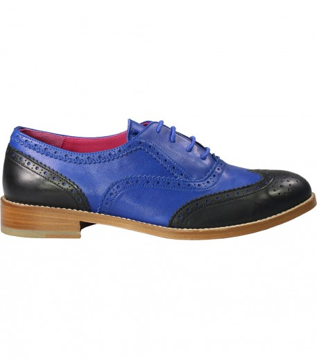 Women's two-tone blue and black Richelieu shoes