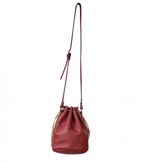 Raphael small red leather bucket bag