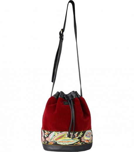 Amara red velvet and leather bucket bag