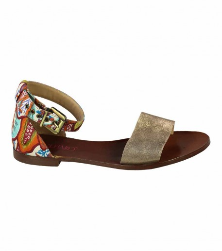 "Flat leather sandals with rust ""Feathers"" strap"