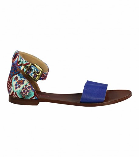 "Flat leather sandals with deep blue ""Feathers"" strap"