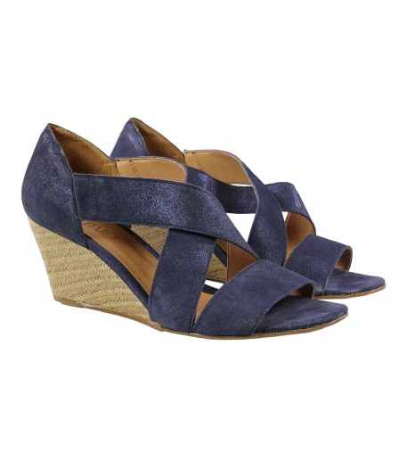 Sparkly blue wedge sandals