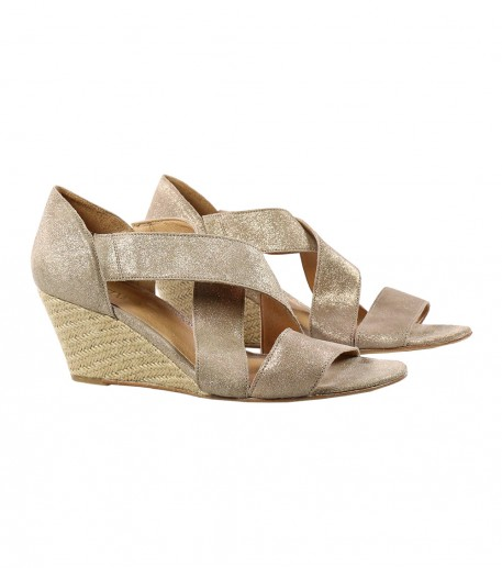 Sparkly champagne wedge sandals