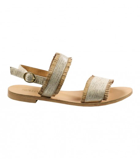 Sparkly beige fringed flat sandals