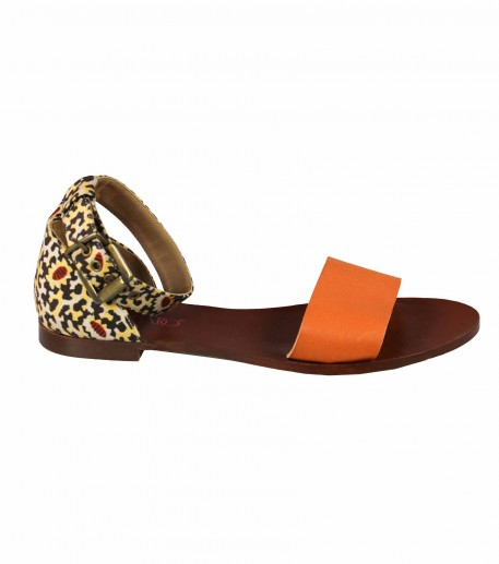 "Flat leather sandals with orange ""Leopard"" strap"