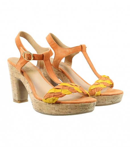 Apricot plaited cork high heel sandals