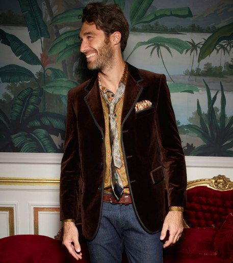 Men's chocolate velvet Gardian jacket