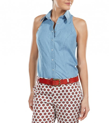 César faded denim sleeveless blouse