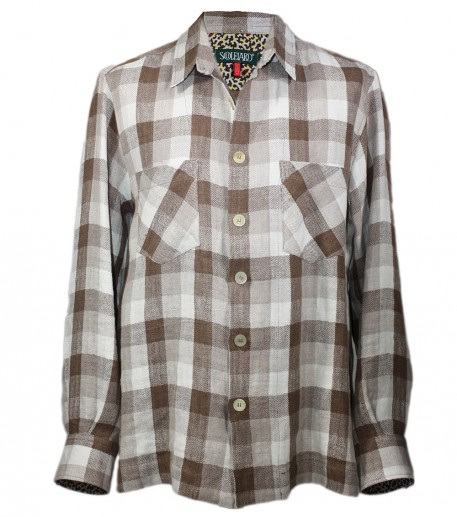 """Rocaille"" checked beige linen overshirt"