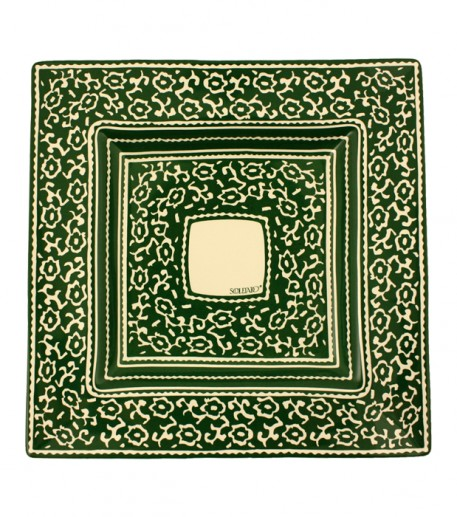 """LES SIX CHEMINS"" large green square plate 38x38 cm"