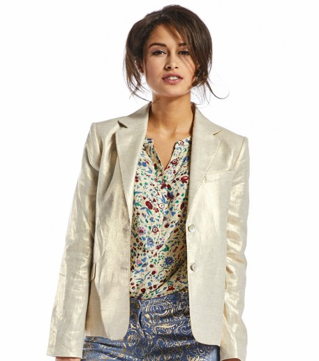Claudia gold coated linen jacket