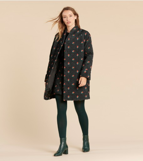 """THELMA 3/4 """"Printemps"""" quilted jacket velvet black and multico"""
