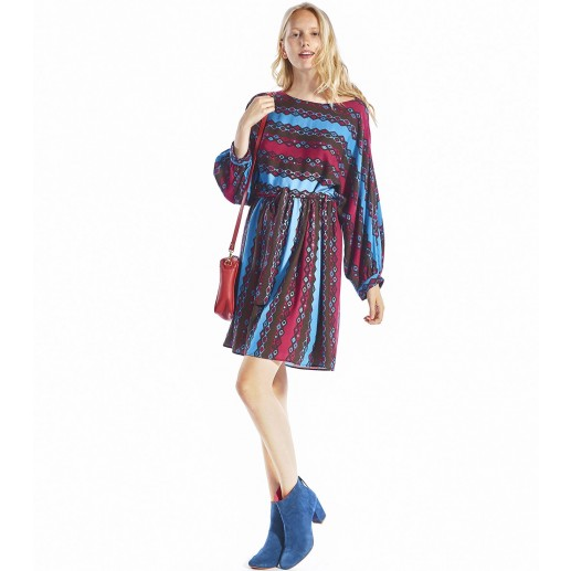 Robe Andrea vague bleu/framboise