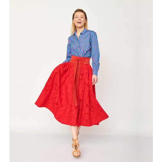 Jupe CANNES broderie anglaise rouge