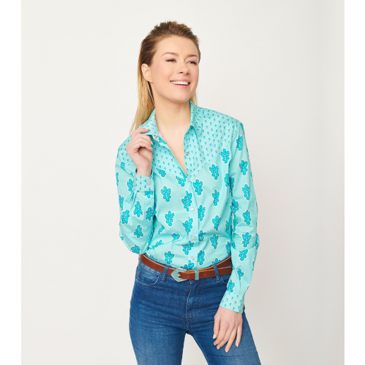 Chemise TEXANE Grosse Mouche turquoise