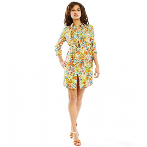 "Robe Chemisier En Soie Linette ""Jungle"""