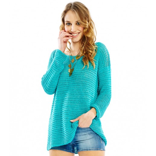 Pull Ample PAULO Maille Ajourée turquoise
