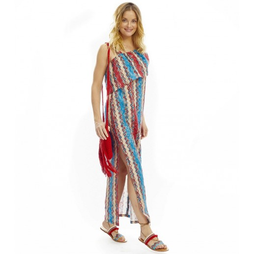 "Robe Feria ""Vague"" rouge/bleu"