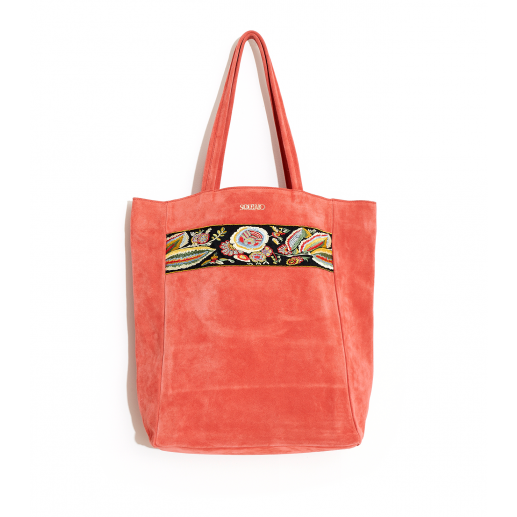 Sac cabas broderie corail