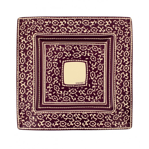 "Plat carré grand collection ""LES SIX CHEMINS"" violet 38x38 cm"