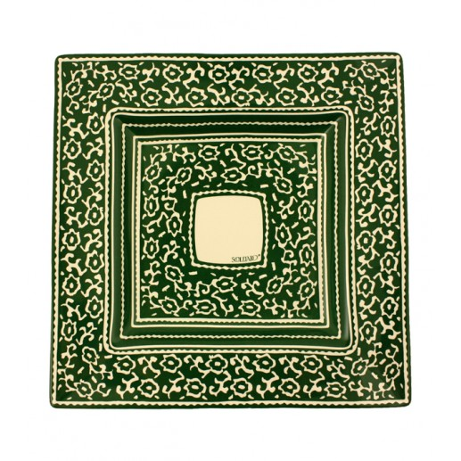 "Plat carré grand collection ""LES SIX CHEMINS"" vert 38x38 cm"