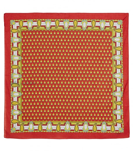 Foulard coton LE SCARABEE rouge 90*90