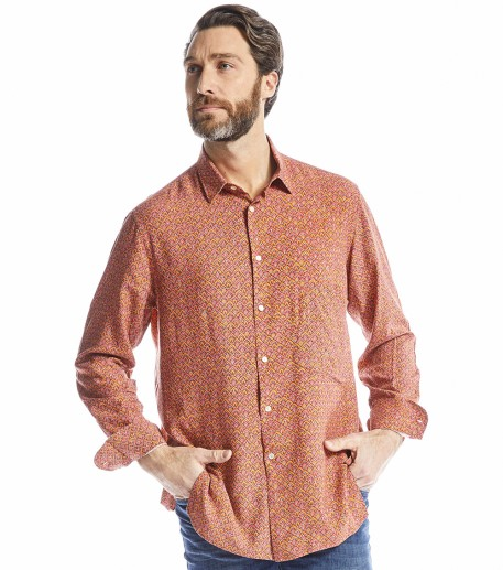 "Chemise homme loose ""Calyssa"" corail"