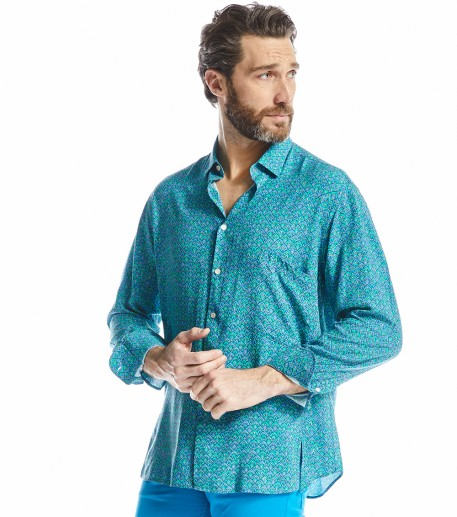"Chemise homme loose ""Calyssa"" turquoise"