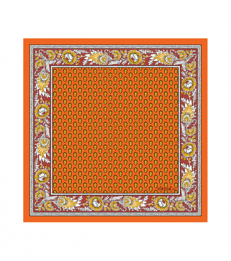 Foulard coton MOUCHE orange 45x45cm