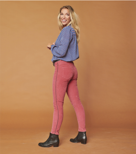 Pantalon NICO velours Milleraies Rouge