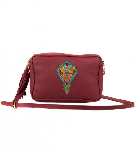 Sac Angelina avec broderie barocco rouge