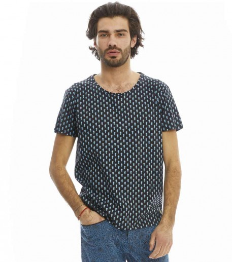 "T-shirt Ashley noir ""Mouches"" noir/bleu"
