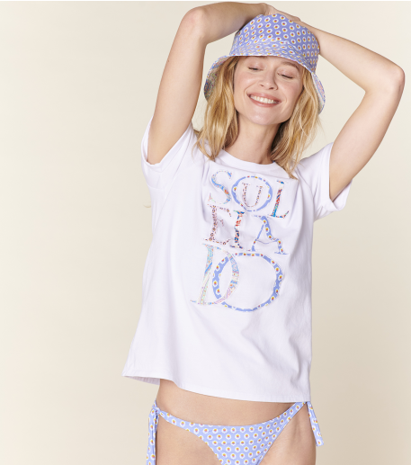 Tee-shirt SOULEIADO blanc Patchwork Lettres